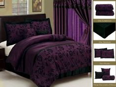 Amazon.com: 7 Piece Faux Silk Satin Comforter Set Bedding-in-a-bag, Purple Black- QUEEN: Bedding & Bath