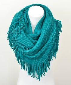 Teal Fringe Infinity Scarf | Daily deals for moms, babies and kids