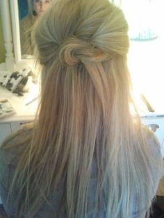 double knot, hair straight