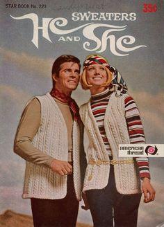 Star 223 He She Sweaters Knit Crochet Patterns Aran Cardigan Stockings Cap 1970s #AmericanThreadCompany #KnittingCrochetPatterns