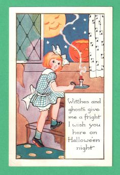 1927 WHITNEY HALLOWEEN POSTCARD GIRL STEPS CANDLE WINDOW MOON STARS HAPPY JOL   eBay