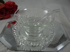 Gorgeous Paden City Etched Glass Mayonnaise Bowl with Underplate and Ladle by SecondWindShop