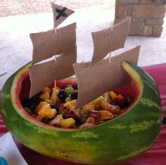 Watermelon pirate ship. A bunch of other cute pirate-themed food ideas on this blog, as well.