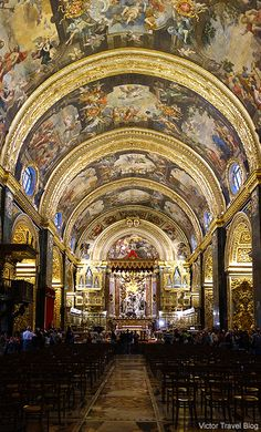 Interior of the St John's Co-Cathedral of Valletta, Malta.- We visited the cathedral while visiting Malta on Easter Sunday. It is truly gorgeous, and absolutely breathtaking. Places Around The World, Around The Worlds, Knights Hospitaller, Malta Gozo, Malta Island, Voyage Europe, Cathedral Church, Chapelle, Place Of Worship