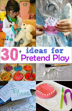This is the best list of pretend play ideas I have found. I used them for kids activities at home but they would also be great for a dramatic play area.