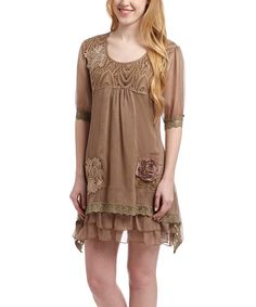 Look at this Brown Silk-Blend Shift Dress on #zulily today!