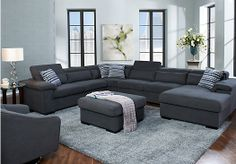 Shop for a Carroll Lane Gunmetal 7 Pc Sectional Living Room at Rooms To Go. Find Living Room Sets that will look great in your home and complement the rest of your furniture. #iSofa #roomstogo
