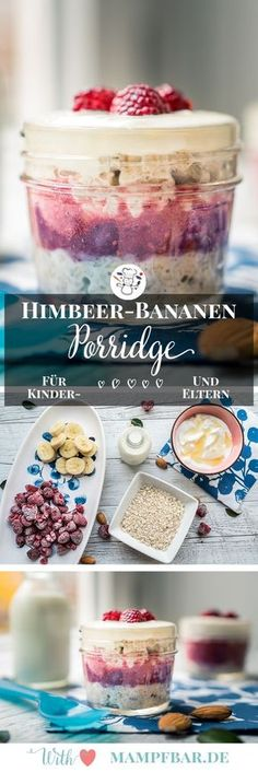 Himbeer-Bananen Porridge mit Joghurt & Urlaubspläne Delicious raspberry banana porridge for the whole family and many other breakfast ideas for children can be found here [. Breakfast And Brunch, Mexican Breakfast Recipes, Healthy Dessert Recipes, Health Desserts, Baby Food Recipes, Mexican Food Recipes, Whole Food Recipes, Breakfast Ideas, Raspberry Breakfast