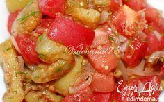 Салат из жареных баклажанов со свежими помидорами | Кулинарные рецепты от «Едим дома!»