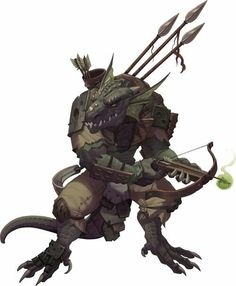 Character concept reptilian humanoid male ranger Unmagical Realistic clothing kobold wield crossbow spear quarrel poison