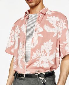 Image 5 of from Zara Aesthetic Shirts, Aesthetic Clothes, Pink Outfits, Casual Outfits, Look Fashion, Mens Fashion, Little Mac, Zara, Floral Print Shirt