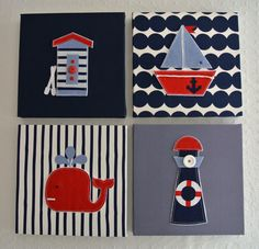 Nautical sailing beach  theme canvas handmade. Picture & wall decal kids bedroom boys. Children's or baby nursery decor