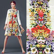 1 метр цветок для цифровой печати жаккардовые ткани пальто, Vintage Style марка шоу жаккардовая ткань платья, пошив одежды материал(China (Mainland))