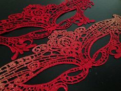 Red Masquerade Ball mask made with Lace Embroidery by HigginsCreek