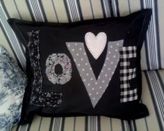Black white Love cushion cover pillow personalised handmade new bespoke Handcrafted Valentine