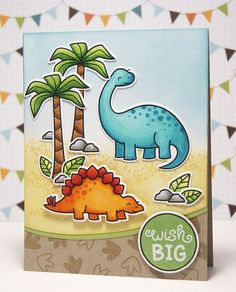 Lawn Fawn - Critters from the Past + coordinating dies, Birthday Tags, Circle Stackables Lawn Cuts die _ Card by Yainea for Lawn Fawn Design Team Boy Cards, Kids Cards, Card Making Inspiration, Making Ideas, Dinosaur Cards, Lawn Fawn Blog, Kids Birthday Cards, Birthday Tags, Lawn Fawn Stamps