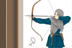 Muslimah Archer by sheepikos Cute Muslim Couples, Muslim Girls, Hijabi Girl, Girl Hijab, Cartoon Sketches, Cartoon Art, Muslim Images, Hijab Drawing, Islamic Cartoon