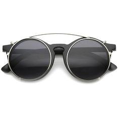 3e7ba9b1d56 Vintage Inspired P-3 Horn Rimmed Crossbar Clip-On Round Sunglasses 52mm