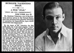 23rd August 1925 - Death of Rudolph Valentino