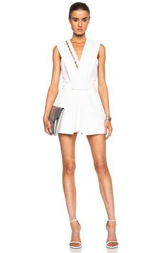 Mugler Fitted Cady Acetate-Blend Romper in Off White | FWRD