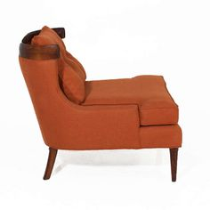 Pair Of Erwin Lambeth Lounge Chairs In Burnt Orange Linen | From a unique collection of antique and modern lounge chairs at http://www.1stdibs.com/furniture/seating/lounge-chairs/