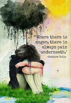 Eckhart Tolle Quote / Anger is always a secondary emotion. Underneath anger is a different emotional pain: fear, shame, grief, etc.  ~ SHEN therapy www.SHENworks.com