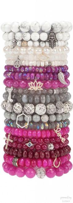 Sydney Evan stacked beaded bracelets