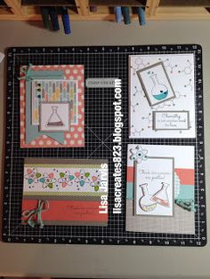 Lisa Creates...Zoe paper pack with Positive Chemistry stamp set. Love these!