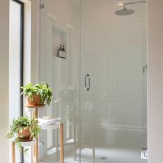 White Midcentury Modern Master Bathroom with Glass Shower - Fixer Upper Inspo