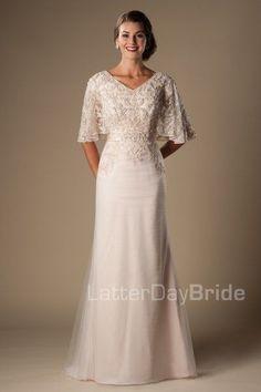 modest wedding dresses at LatterDayBride, the Primrose with boho sleeves and beading