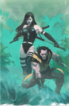 "Psylocke & Wolverine by Esad Ribic Comic Art Cant wait to see Olivia Munn. gonna be rad. ""some butterflies only live to be a month old, that means I have two lifetimes to live."""