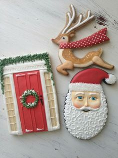 Christmas cookies, Santa, reindeer, door
