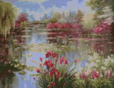 Impressionist Iris Pond in the style of Monet cross stitch pattern.. This chart uses 50 DMC colors and the finished size is 180 x 140 stitches, which is approximately - • 11.2 x 8.75 - 16 count Aida (285mm x 222mm) • 12.8 x 10 - 14 count Aida (325mm x 254mm) • 10 x 7.8 - 18 count Aida