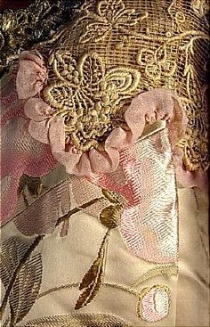 . 1905 E. CHARLES, New York Ivory Floral Silk Brocade Lace and Velvet Evening Coat in the Style of the House of Worth!