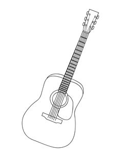 Acoustic Guitar Coloring Page. Free PDF download at http://musiccoloringpages.net/download/acoustic-guitar/