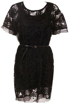 Black Hollow-out Lace Floral Dress #Romwe