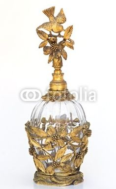 Vintage Golden Birds Perfume Bottle
