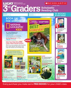 It's the October 2013 Scholastic Reading Club Flyer for 3rd Graders!
