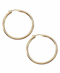 14k Gold Hoop Earrings - Gold - Jewelry & Watches - Macy's