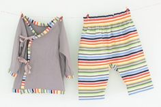 Little Kid Kimono Set - FREE PDF Pattern and Tutorial from Titchy Threads in size 0-3 months