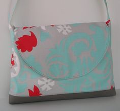 Messenger Bag / Crossbody Bag in Gray and Aqua print. $38.00, via Etsy.