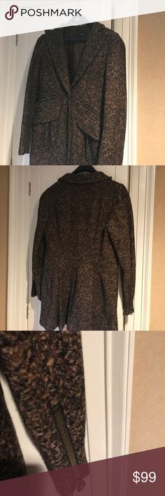 Nanette Lepore size 10 Riding jacket Brown and Black fleece wool with zipper details Nanette Lepore Jackets & Coats Blazers