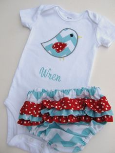 d015db8bb Personalized Bodysuit and Ruffled Diaper Cover Set- Personalized  Embroidered Bird Set- Ruffled Diaper Cover Set- Chevron