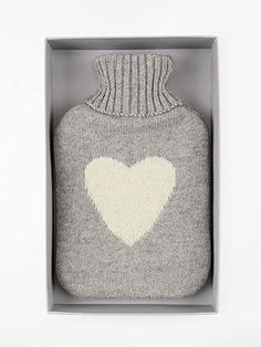 BuyJohn Lewis & Partners Hot Water Bottle, Grey Knit White Heart Online at johnlewis.com