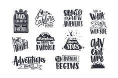 Collection of written phrases, slogans or quotes decorated with travel and adventure elements - backpack, mountain, camping tent, forest trees. Creative vector illustration in black and white colors travel Adventure Quotes, Adventure Awaits, Adventure Travel, Adventure Tattoo, Karten Diy, Sleeping Under The Stars, Handwritten Letters, And So The Adventure Begins, Happy Campers