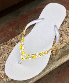 be309be12094 White Yellow Havaianas Slim Flip Flops Custom w  Swarovski Crystal  Rhinestone Beach Sea Glass Slipper Wedding sandal Bling Jewel Bridal shoe