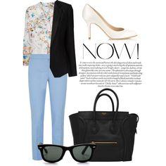 """blue pants & floral print"" by horackova-alice on Polyvore"