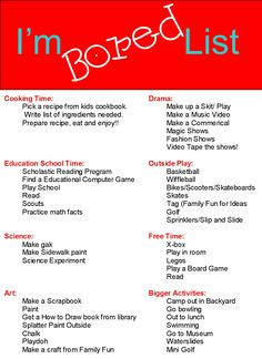 She started the summer with a great list of 281 ideas to beat summer boredom and a plan to let her kids get bored. Description from pinterest.com. I searched for this on bing.com/images