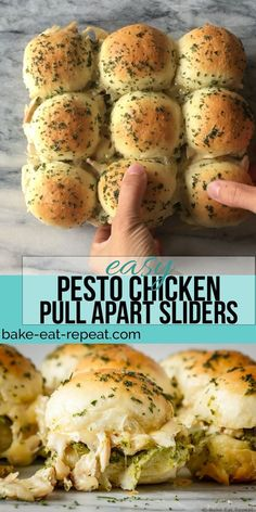 These easy to make, pesto chicken pull apart sliders are the perfect quick and easy dinner – and the leftover sliders are amazing for lunch the next day! dinner recipes with chicken Pesto Chicken Pull Apart Sliders Healthy Dinner Recipes, Appetizer Recipes, Simple Cooking Recipes, Simple Recipes For Dinner, Best Dinner Recipes Ever, Easy Dinners To Make, Breakfast Food Recipes, Easy Food For Party, Eating Clean