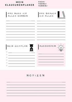 Exam planner template – desk ideas - New Site Teacher Planner Free, Daily Planner Printable, Student Planner, Planner Template, Exam Planner, Lesson Planner, College School Supplies, Good Notes, Study Motivation
